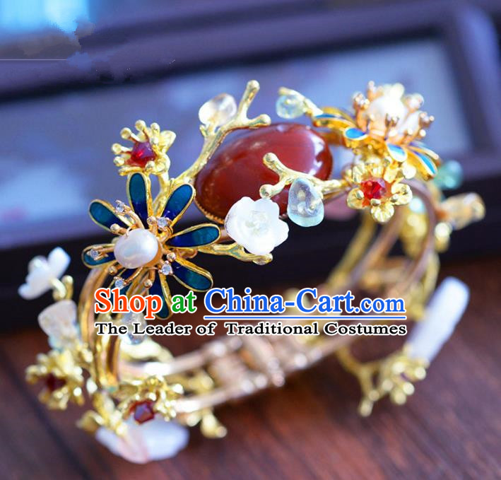 Top Grade Handmade Jewelry Accessories Chinese Ancient Bride Cloisonne Bracelet Hanfu Bangle for Women