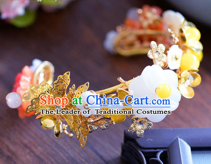 Top Grade Handmade Jewelry Accessories Chinese Ancient Bride Butterfly Flowers Bracelet Hanfu Bangle for Women