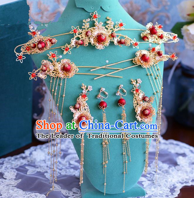 Chinese Ancient Handmade Palace Hair Clips Tassel Step Shake Hair Accessories Traditional Hairpins for Women