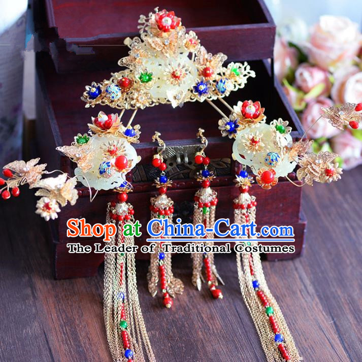 Chinese Ancient Handmade Palace Jade Phoenix Coronet Tassel Step Shake Hair Accessories Traditional Hairpins for Women