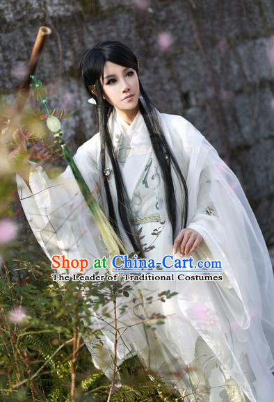 Chinese Ancient Costume Nobility Childe Hanfu Jin Dynasty Swordsman Clothing for Men