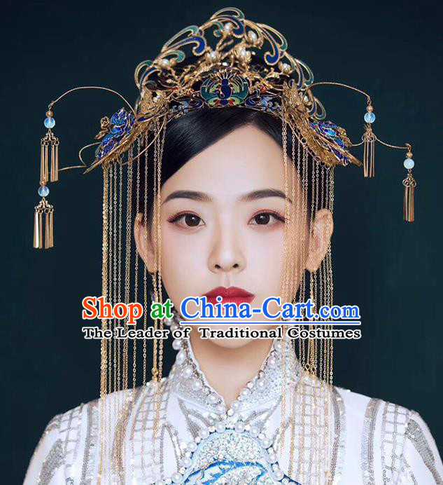 Chinese Ancient Handmade Cloisonne Phoenix Coronet Hair Clips Traditional Hair Accessories Xiuhe Suit Hairpins for Women