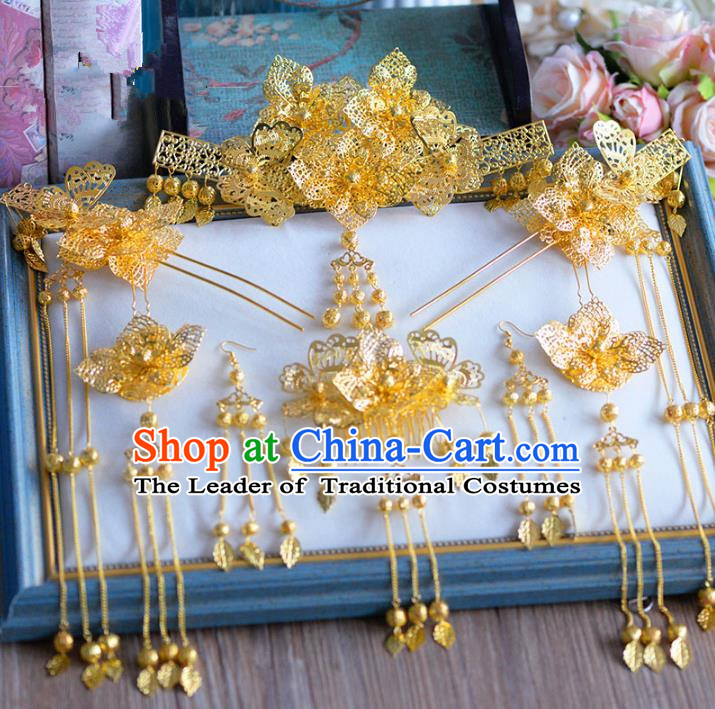 Chinese Ancient Handmade Golden Hair Clips Traditional Hair Accessories Xiuhe Suit Hairpins for Women