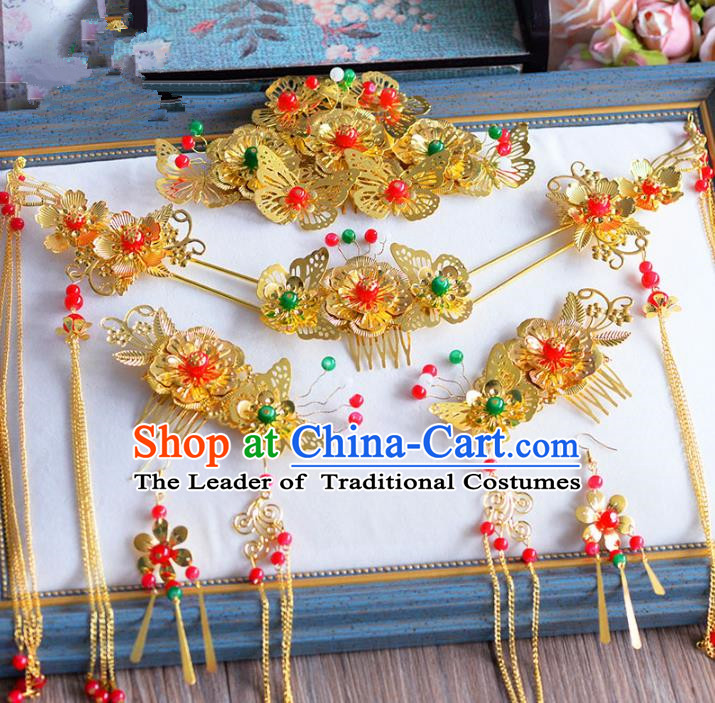 Chinese Ancient Handmade Golden Hair Combs Traditional Hair Accessories Xiuhe Suit Hairpins for Women
