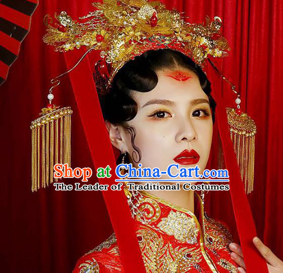 Chinese Ancient Handmade Phoenix Coronet Traditional Hair Accessories Xiuhe Suit Hairpins for Women