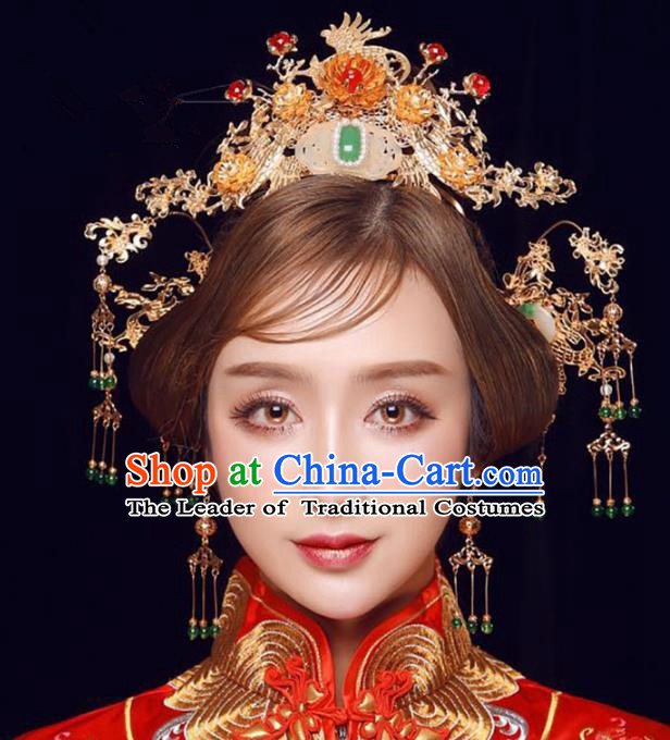 Ancient Chinese Handmade Jade Phoenix Coronet Traditional Hair Accessories Xiuhe Suit Hairpins for Women