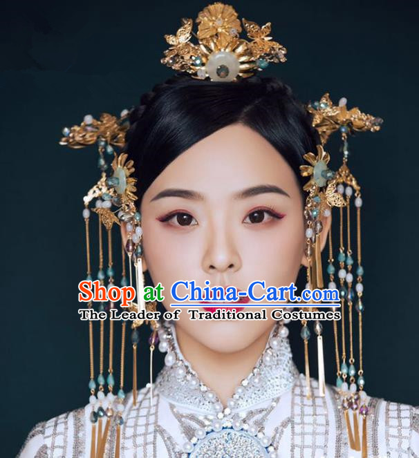 Ancient Chinese Handmade Jade Peace Buckle Phoenix Coronet Traditional Hair Accessories Xiuhe Suit Hairpins for Women