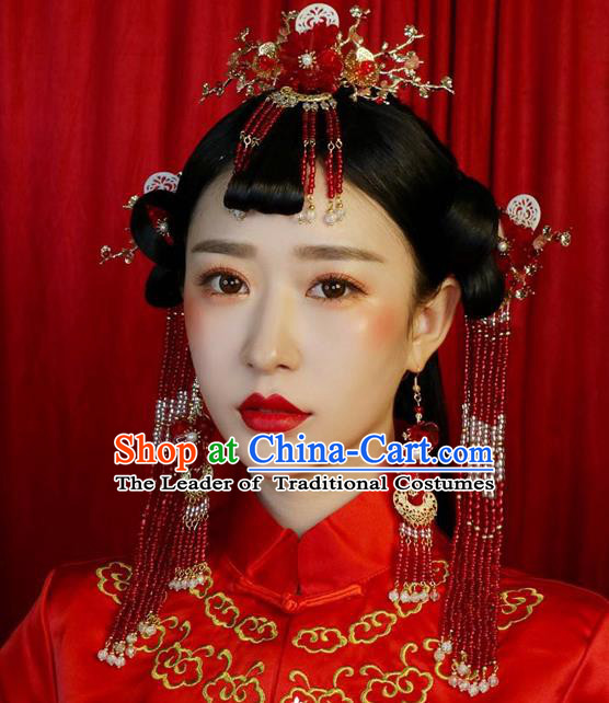 Ancient Chinese Handmade Traditional Hair Accessories Red Beads Hair Clips Xiuhe Suit Hairpins for Women
