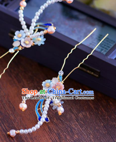 Ancient Chinese Handmade Hair Accessories Xiuhe Suit Hair Clip Pearls Hairpins for Women