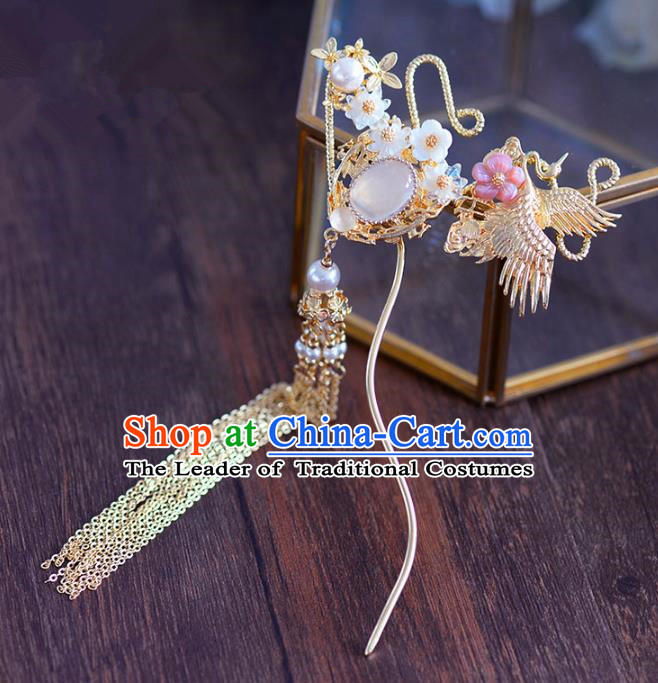 Ancient Chinese Handmade Hair Accessories Xiuhe Suit Tassel Step Shake Hairpins for Women