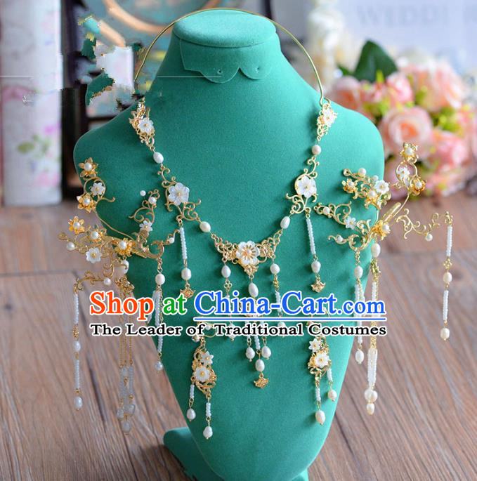 Ancient Chinese Handmade Hair Accessories Xiuhe Suit Hairpins and Necklace for Women