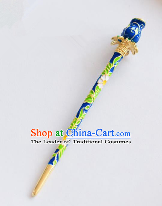 Ancient Chinese Handmade Classical Hair Accessories Xiuhe Suit Cloisonne Blue Hairpins for Women