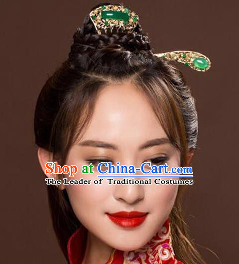 Ancient Chinese Handmade Classical Hair Accessories Xiuhe Suit Jade Hairpins and Hair Comb for Women