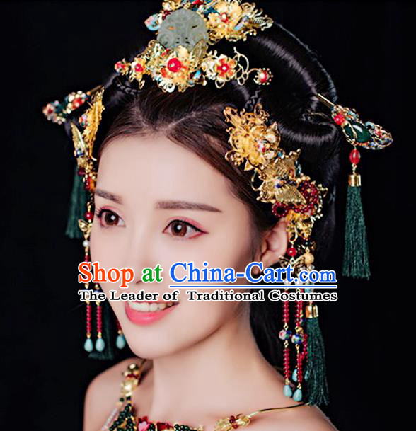 Ancient Chinese Handmade Classical Hair Accessories Palace Phoenix Coronet Jade Hairpins Complete Set for Women