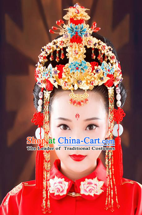 Ancient Chinese Handmade Classical Hair Accessories Palace Bride Tassel Phoenix Coronet Hairpins Complete Set for Women