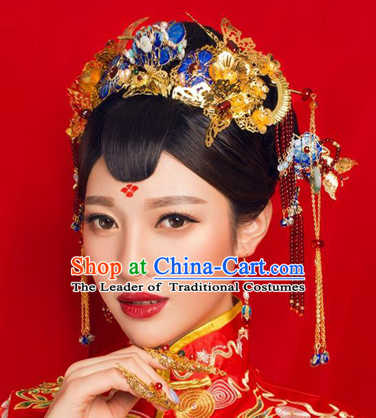 Ancient Chinese Handmade Classical Hair Accessories Palace Bride Blueing Lotus Phoenix Coronet Hairpins Complete Set for Women