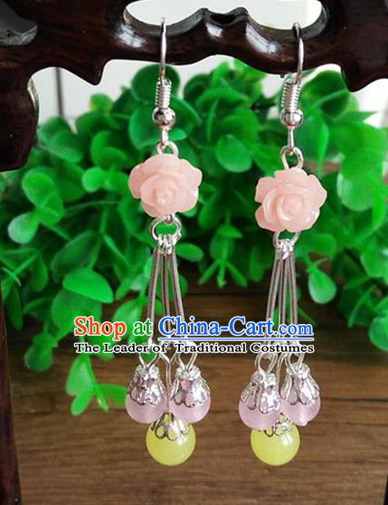 Top Grade Chinese Handmade Accessories Eardrop Wedding Hanfu Pink Rose Earrings for Women