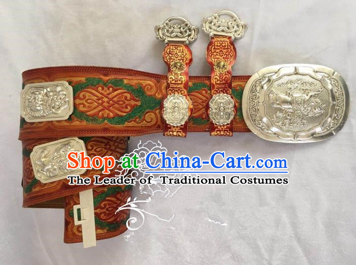 Traditional Chinese Mongol Nationality Waist Accessories Mongolian Robe Leather Belts Waistband for Men