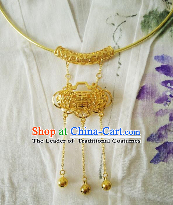 Chinese Ancient Handmade Wedding Golden Longevity Lock Jewelry Accessories Tassel Necklace for Women