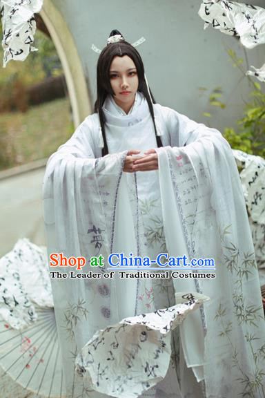 Ancient Chinese Jin Dynasty Prince Costume Cosplay Swordsman Embroidered Clothing for Men