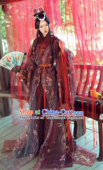 Chinese Ancient Cosplay Nobility Lady Embroidered Costume Jin Dynasty Swordswoman Hanfu Dress for Women