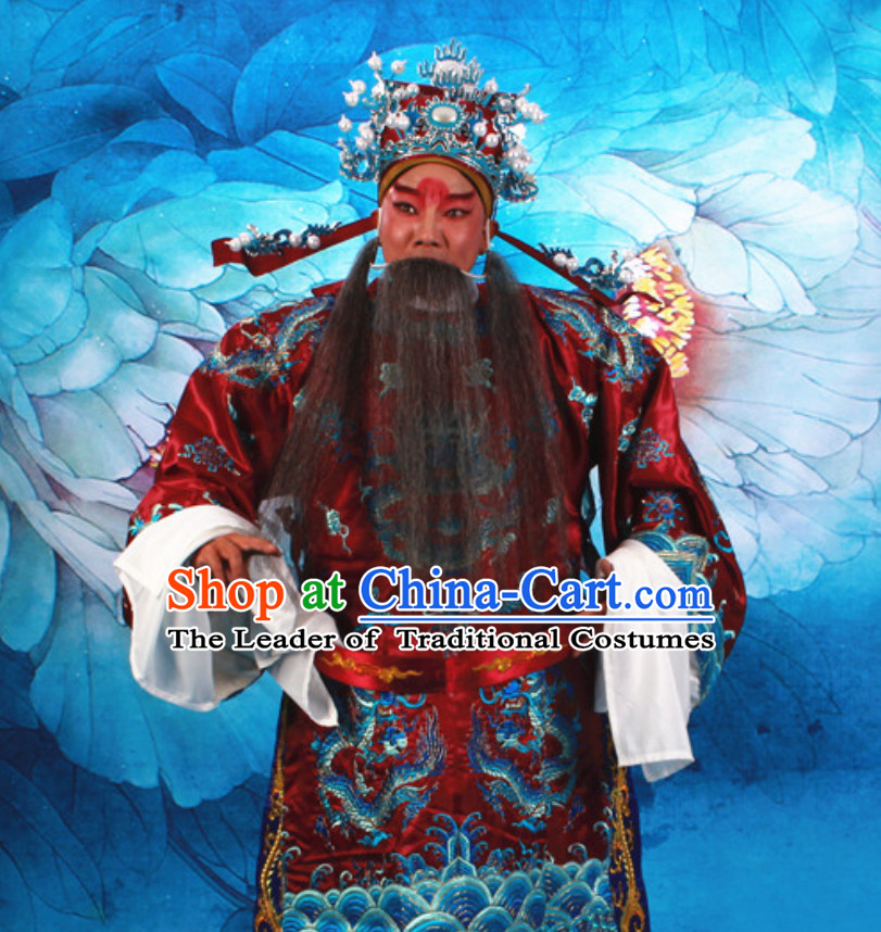 Deep Red Chinese Classical Opera Mang Embroidered Dragon Long Robe Clothing for Gentleman
