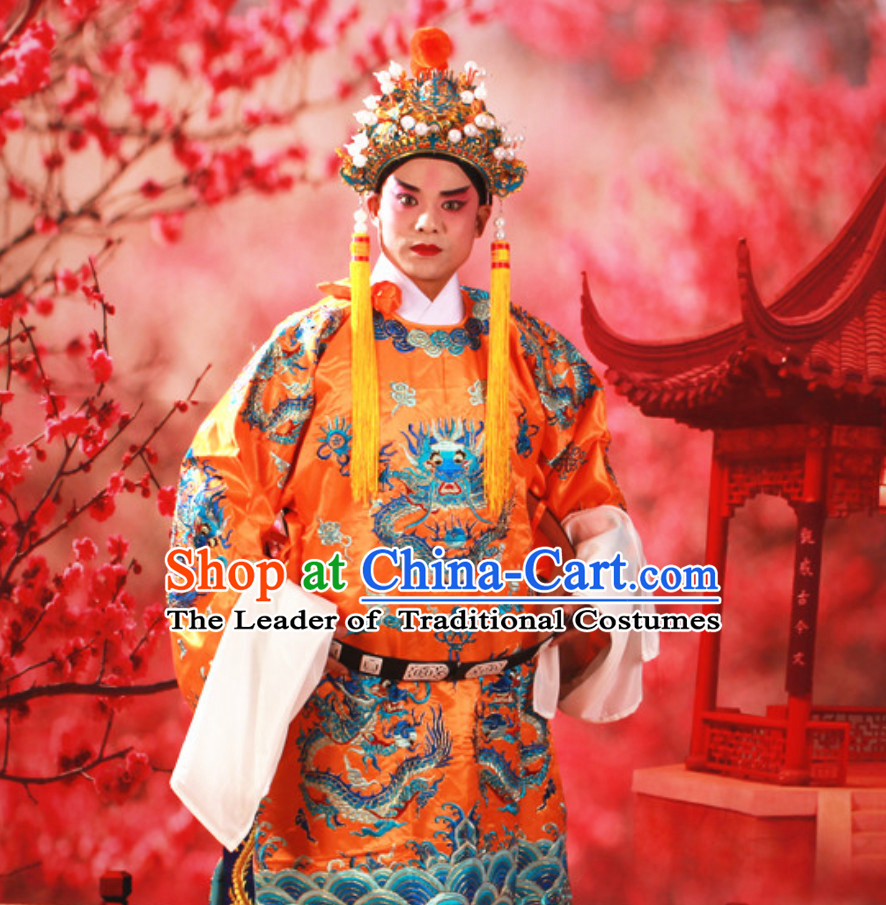 Yellow Color Chinese Classical Beijing Opera Mang Embroidered Dragon Long Robe for Men
