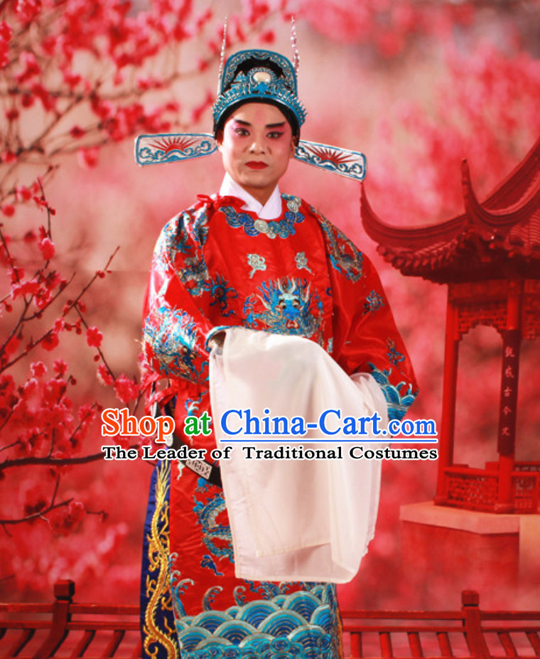 Red Color Chinese Classical Opera Mang Embroidered Dragon Long Robe for Men