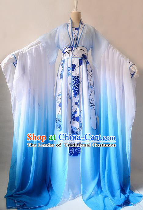 Chinese Ancient Cosplay Palace Princess Costume Jin Dynasty Swordswoman Blue Hanfu Dress for Women