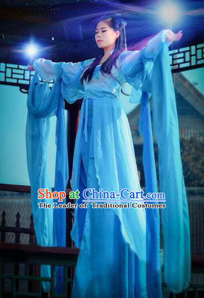 Chinese Ancient Cosplay Fairy Costume Tang Dynasty Palace Princess Swordswoman Blue Hanfu Dress for Women