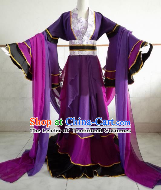 Chinese Ancient Cosplay Fairy Costume Tang Dynasty Palace Princess Swordswoman Purple Hanfu Dress for Women