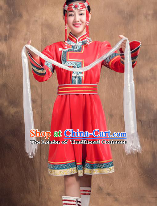 Chinese Traditional Female Ethnic Costume, Mongolian Minority Folk Dance Red Dress for Women