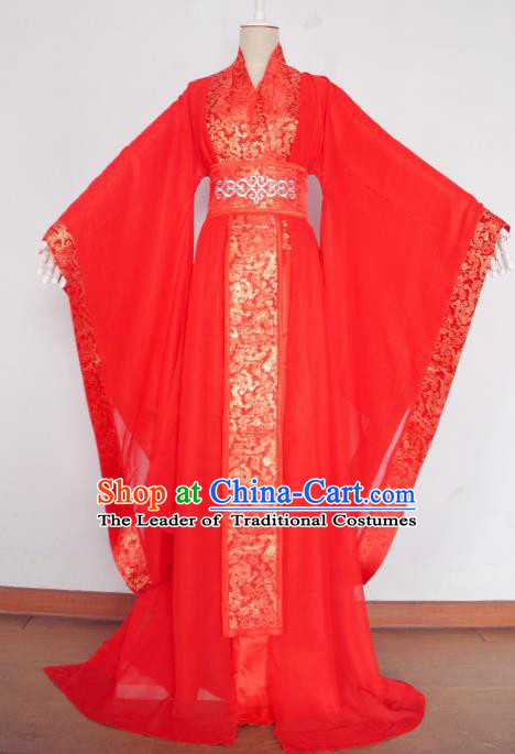 Chinese Ancient Cosplay Princess Wedding Costume Tang Dynasty Imperial Consort Red Hanfu Dress for Women