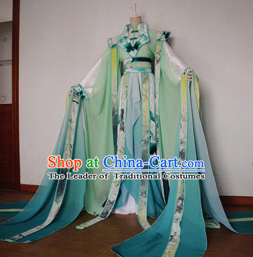Chinese Ancient Cosplay Scholar Green Costume Han Dynasty Prince Swordsman Clothing for Men