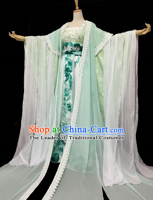 Chinese Ancient Cosplay Swordswoman Costume Traditional Tang Dynasty Princess Green Hanfu Dress for Women
