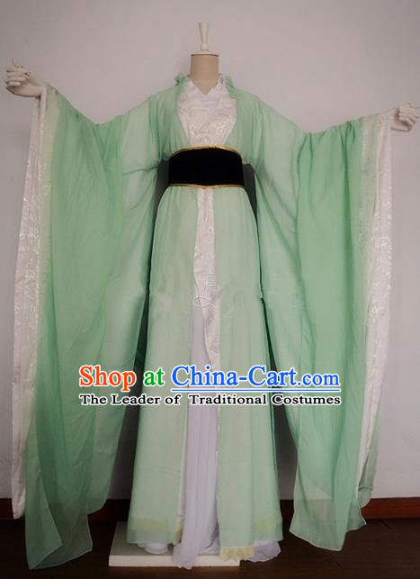Chinese Ancient Cosplay Swordswoman Costume Traditional Han Dynasty Princess Green Hanfu Dress for Women