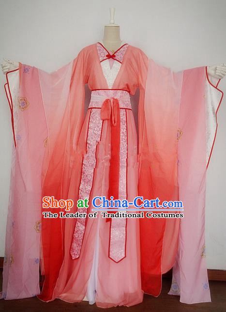Chinese Ancient Cosplay Swordswoman Costume Traditional Han Dynasty Princess Pink Hanfu Dress for Women
