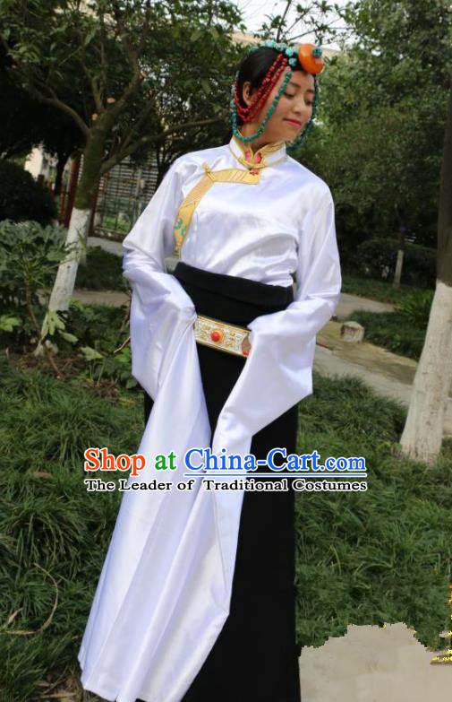 Chinese Traditional Minority Dance Costume Zang Nationality White Water Sleeve Clothing for Women
