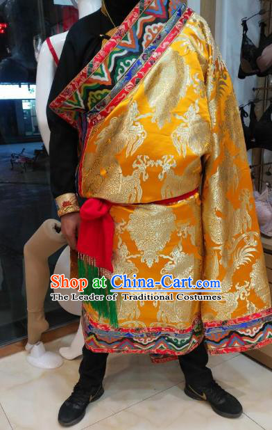 Chinese Traditional Tibetan Minority Dance Costume Zang Nationality Golden Tibetan Robe for Men