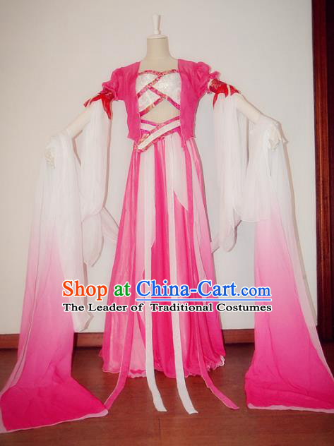 Chinese Ancient Cosplay Fairy Dance Costume Tang Dynasty Nobility Lady Rosy Hanfu Dress for Women