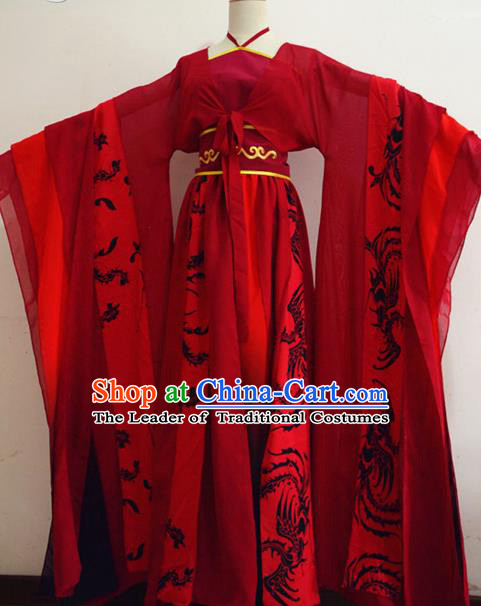 Chinese Ancient Cosplay Swordswoman Red Hanfu Dress Traditional Tang Dynasty Imperial Consort Costume for Women