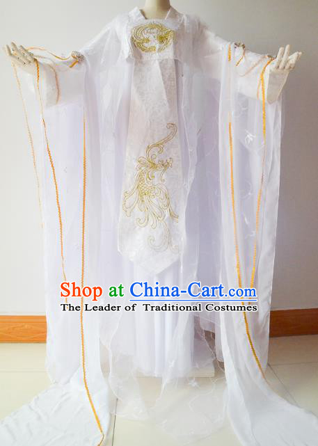 Chinese Traditional Han Dynasty White Hanfu Dress Ancient Princess Embroidered Costume for Women