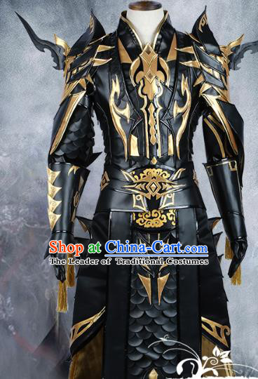 Chinese Ancient Cosplay Knight-errant Black Costume Nobility Childe Swordsman Body Armour Clothing for Men