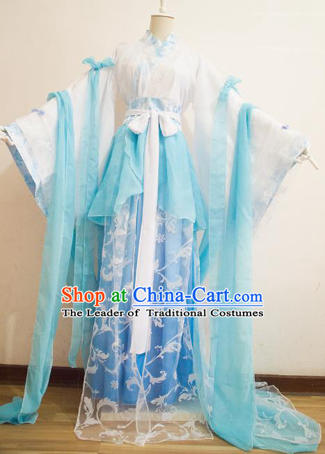 Chinese Ancient Cosplay Princess Blue Hanfu Dress Traditional Song Dynasty Palace Lady Embroidered Costume for Women