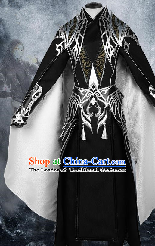 Chinese Ancient Nobility Childe Warrior Black Costume Cosplay Swordsman Clothing for Men