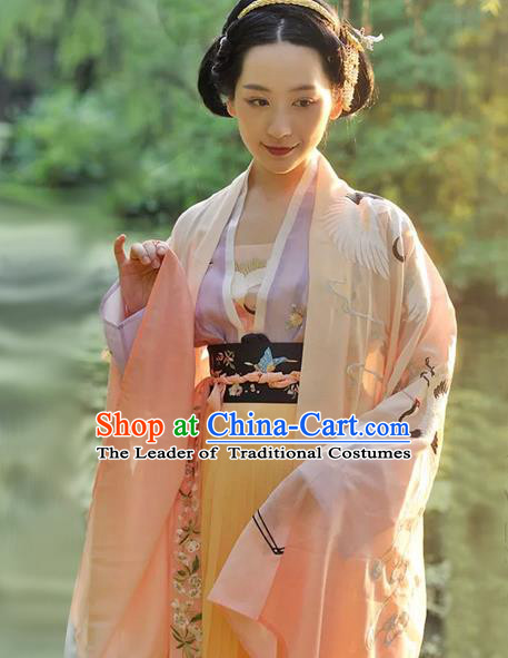 Chinese Traditional Ancient Palace Lady Clothing Tang Dynasty Imperial Consort Embroidered Hanfu Dress for Women