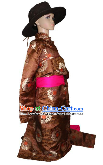 Chinese Traditional Tibetan Minority Dance Costume Zang Nationality Brown Brocade Tibetan Robe for Kids
