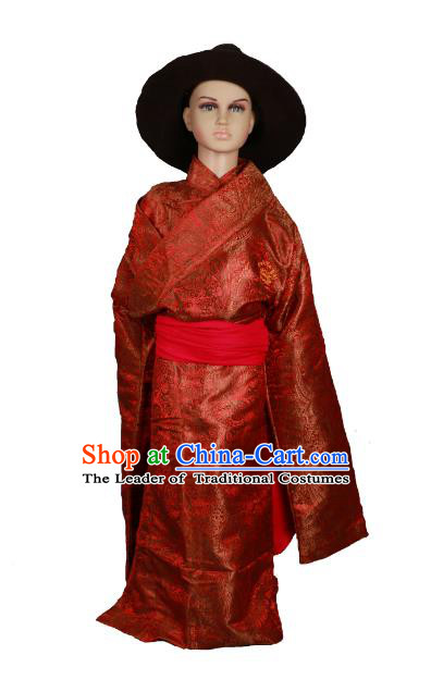 Chinese Traditional Tibetan Minority Dance Costume Zang Nationality Red Brocade Tibetan Robe for Kids