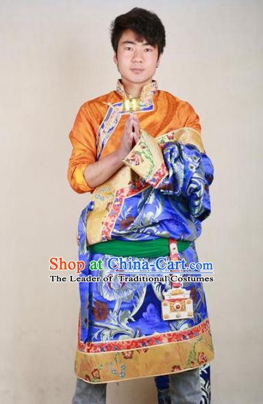 Chinese Traditional Tibetan Minority Dance Costume Zang Nationality Blue Brocade Tibetan Robe for Men