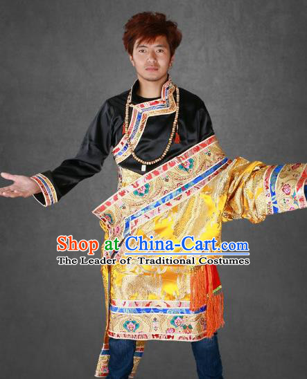 Chinese Traditional Tibetan Minority Dance Costume Zang Nationality Golden Brocade Tibetan Robe for Men